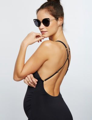 Tie Front Maternity One Piece Swimsuit- Black