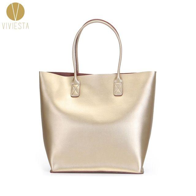 Натуральная кожа металлическая большая - 2016 женская мода модный серебро а4 размер большой торговый сумка сумочка Bolsa