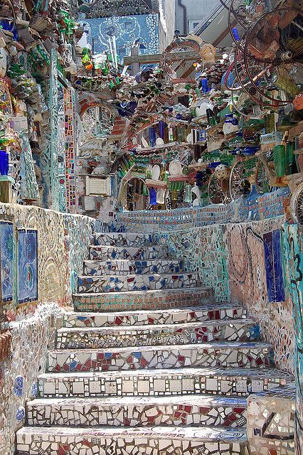 Artist Isaiah Zagar moved to the South Street neighborhood of Philadelphia in the late 1960's.  He and his wife Julia became determined to revitalizing the neighborhood by purchasing and renovating old run down buildings.  In the process of renovation, they placed colorful mosaics on the walls, adding color and art to the neighborhood