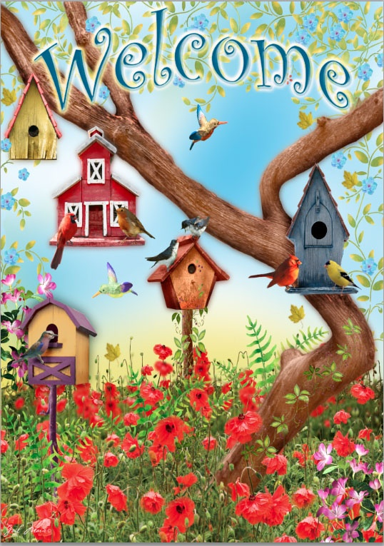 Poppies & Birdhouses Garden Flag