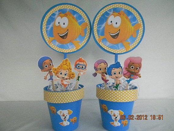 Diy bubble guppies birthday party centerpieces bubble guppies centerpieces wasey 1st - Bubble guppies center pieces ...