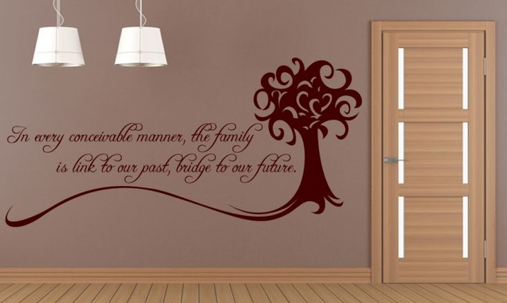 Family quote reading:In every conceivable manner, the family is link to our past, bridge to our future by Alex Haley.  All our wall stickers/decals are available in a great range of sizes and colours - and can be personalised to be truly custom.