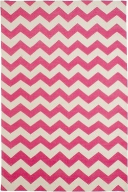 Pink and white chevron pattern rug