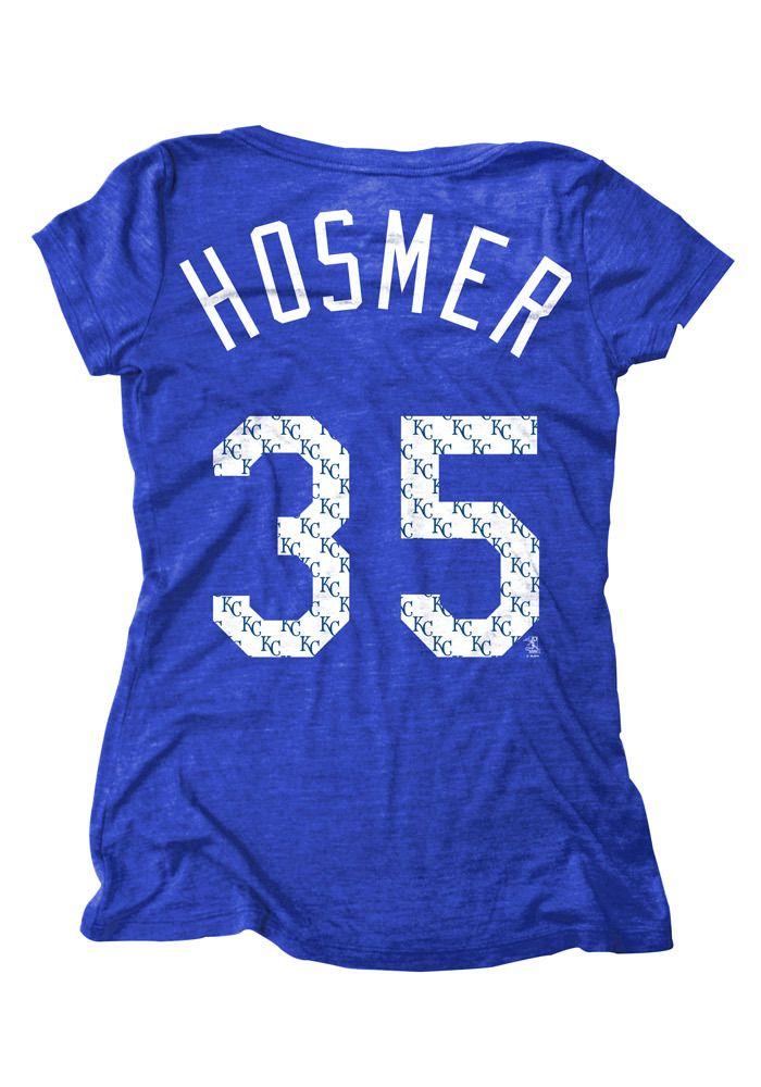 Eric Hosmer Kansas City Royals Player T-Shirt - KC Royals 35 Womens Royal Short Sleeve Player Tee