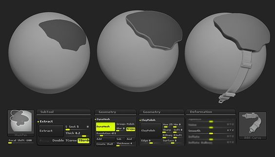 Model hard surfaces quickly in ZBrush with Extract