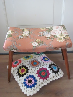 Vintage footstool & cushion