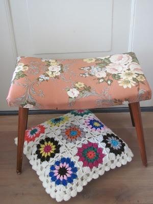 Vintage footstool & cushion