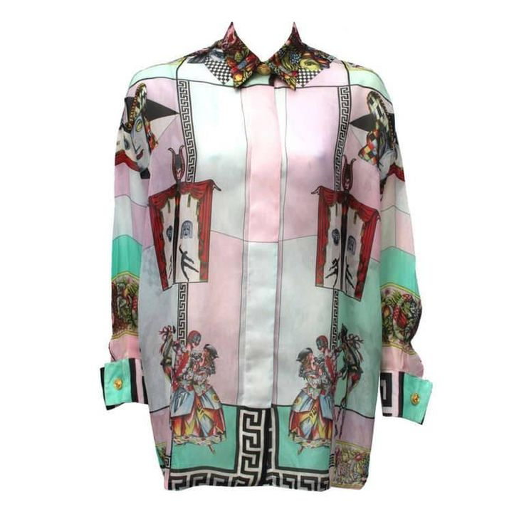Rare Gianni Versace Silk Organza Printed Shirt Spring 1992   From a collection of rare vintage shirts at https://www.1stdibs.com/fashion/clothing/shirts/