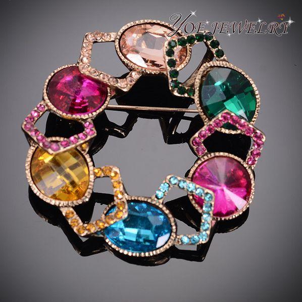 Высокое качество кристалл броши кулон мода ювелирные изделия позолоченные круглой формы.