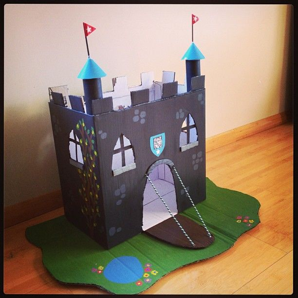 Homemade castle featuring the family crest!