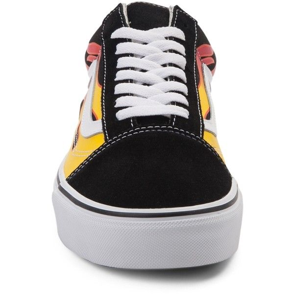 Vans Old Skool Flames Skate Shoe ($99) ❤ liked on Polyvore featuring shoes, sneakers, shock absorbing shoes, vans shoes, vans sneakers, lace up sneakers and sport shoes