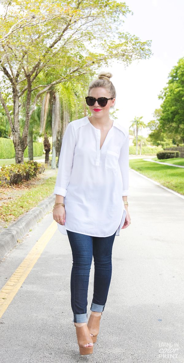 Spring / Summer - street chic style - cropped skinnies + oversized or long white chiffon shirt + black sunglasses + red lips + nude wedges + high bun