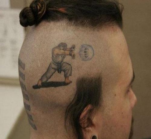 Street Fighter Ryu tattoo on Zangief's head