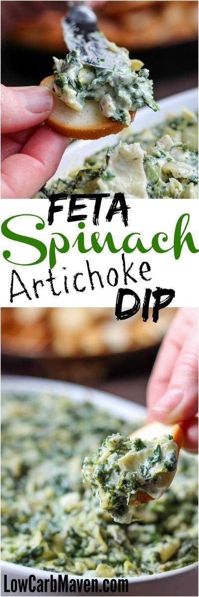 Feta Spinach Artichoke Dip is fast and tasty!   low carb, gluten-free, ketogenic, thm   LowCarbMaven.com