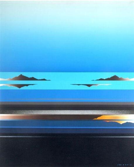 BLUE SKYSCRAPE By Tetsuro Sawada Dimensions: 36 X 28.5 in (91.44 X 72.39 cm) Medium: oil on canvas Creation Date: 1977 Signed