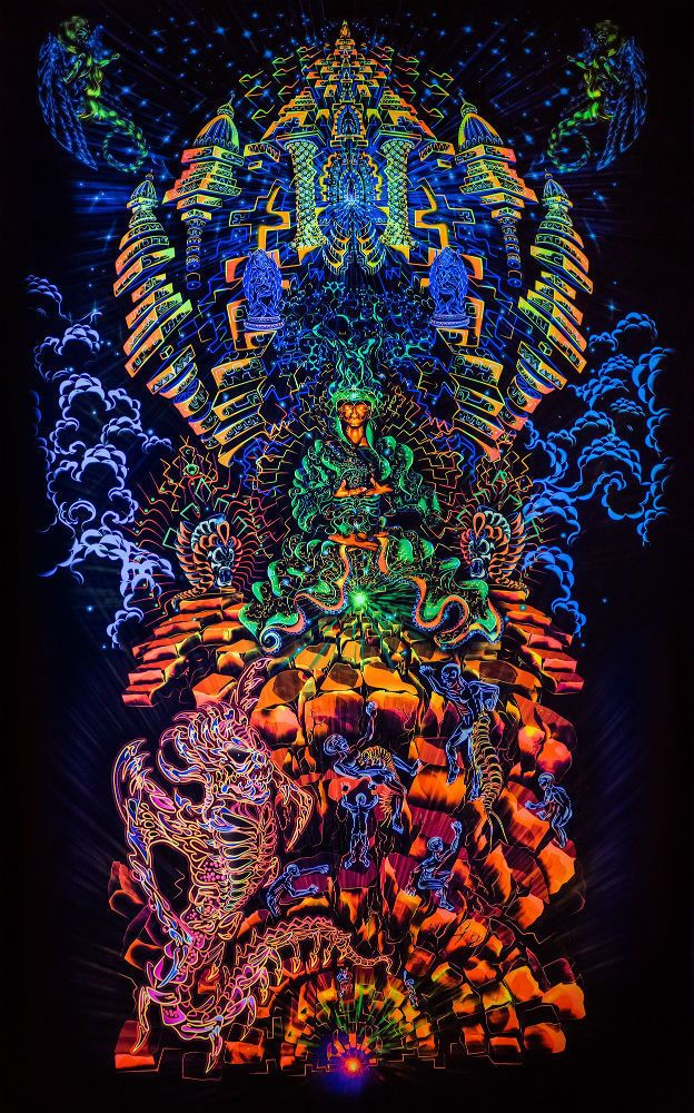 Backdrop Heave-n-Hell Deko Wandbehang 1m x 1,8m Hippie Goa UV Tuch Wandtuch Psy