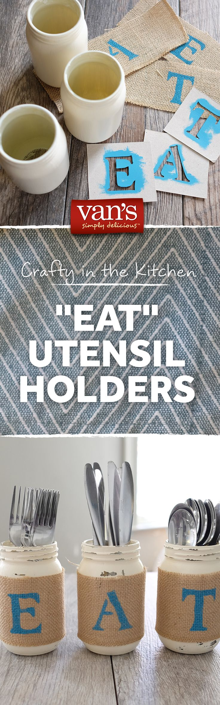 Grab some old mason jars and get crafty with these simple DIY utensil holders! What you need: Mason Jars, Paint, Stencils, Sand Paper, Burlap & Glue.