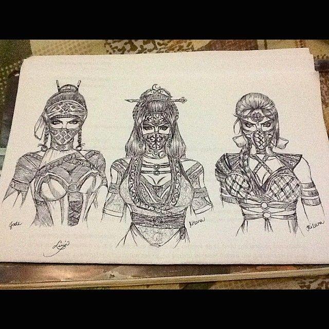 Tattoo Designs Mk: Kitana (middle), Jade (left), Mileena (right) Redesignfor