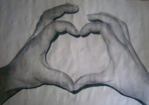 Hands; Charcoal and chalk drawing