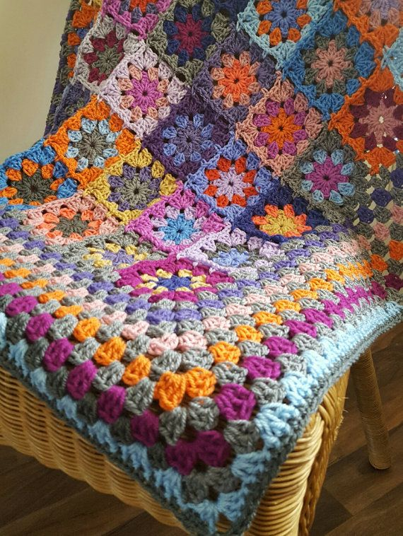 Ready to Ship Crochet Blanket Kaleidoscope Flower by Thesunroomuk