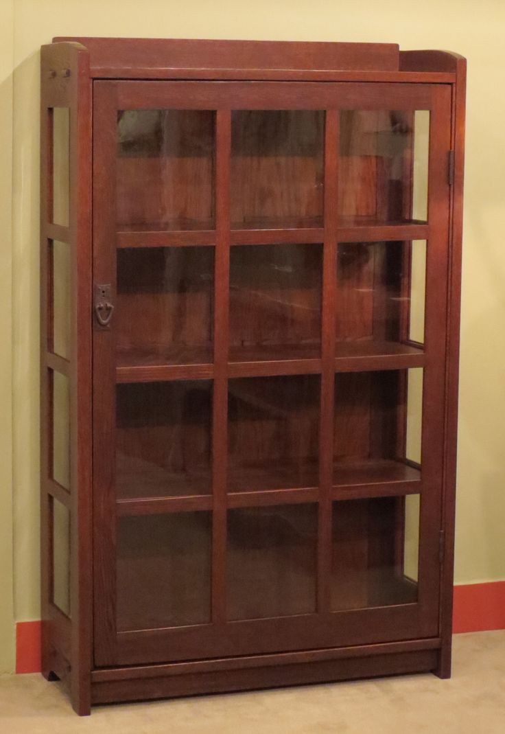 "Gustav Stickley One-Door China Cabinet. 58.5""h x 36""w x 13""d"