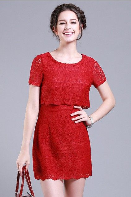 LUCLUC Yellow Lace Short Sleeve Scoop Dress