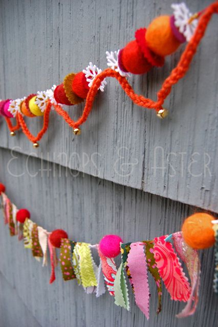 Homespun Felt Bauble Garland by Jenelle@E