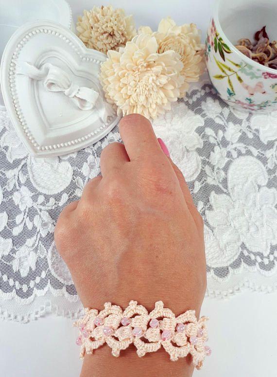 Peach crochet bracelet  lace jewelry peach beaded bracelet