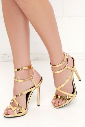 Let's Groove Tonight Gold Dress Sandals at Lulus.com!