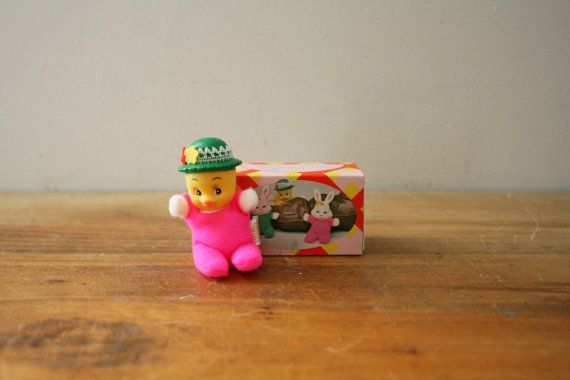 vintage 70s Duck with Hat PeeWee Pet Match Pack Miniature Bean Bag Toy