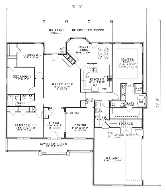 this traditional design floor plan is 2286 sq ft and has 4 bedrooms and has bathrooms