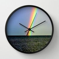 Pot of gold over the Bay Wall Clock by Chris' Landscape Images Of Australia