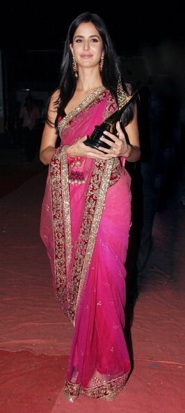 katrina kaif in a hot pink colour saree