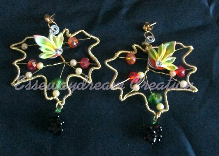 wire autumn leaf and kanzashi flower