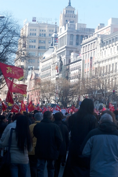 #Spanish #Indignados and unions marching in Madrid on February 19th