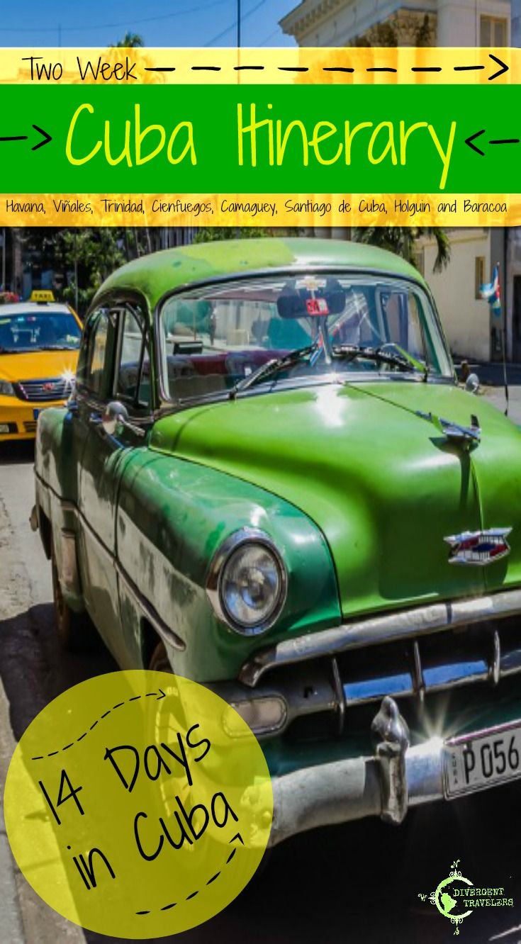 Two Week Cuba Itinerary: 14 Days in Cuba. The Main cities including Havana, Viñales, Trinidad, Cienfuegos, Camaguey, Santiago de Cuba, Holguin and Baracoa with 14 days in Cuba. Click to read the full travel blog post at http://www.divergenttravelers.com/two-week-cuba-itinerary/