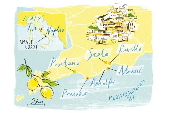 Illustrated map of the Amalfi Coast | By Heather Gatley for Condé Nast Traveller
