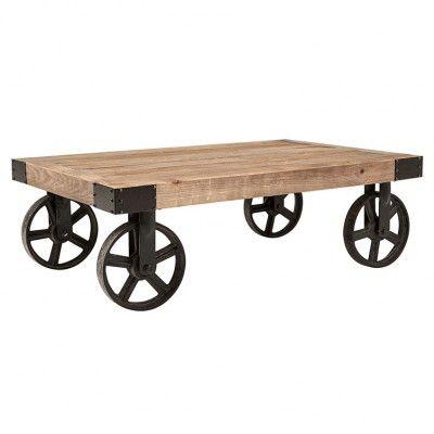 Vintage malm soffbord med hjul