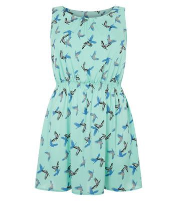 Inspire Mint Green Bird Print Skater Dress