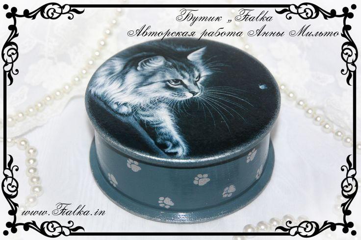 шкатулка, box, decoupage, cat