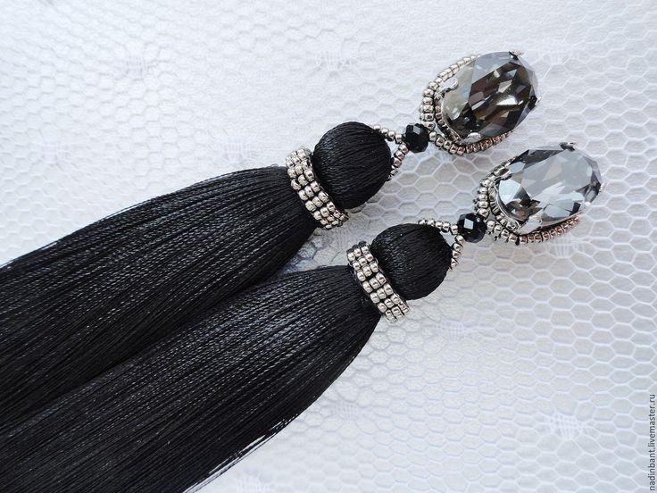 """Купить Клипсы """"Sweet Black Elegant"""" - шелк, стразы Сваровски - черный, клипсы, клипсы кисти"""