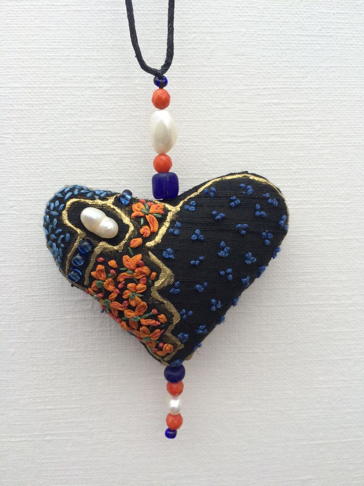 Silk heart pendants by Klektik