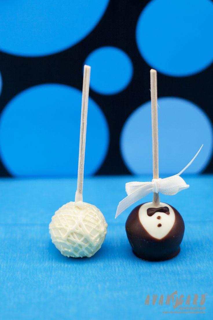 Svatební lízátka - nevěsta a ženich - tyrkysová svatební inspirace /// Wedding lollipops - bride and groom - Turquoise wedding inspiration