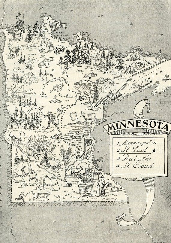 Minnesota Map ORIGINAL Vintage 1950s Picture Map - 1950s Fun  - Delightfully amusing ~ Fun  Charming Minneapolis Rochster