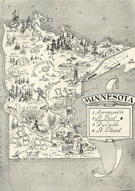 Minnesota Map ORIGINAL Vintage 1950s Picture Map - 1950s Fun  - Delightfully amusing ~ Fun  Charming Minneapolis Rochster