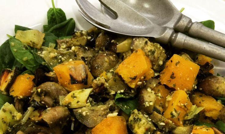 Roast Veggie and Macadamia Pesto Salad