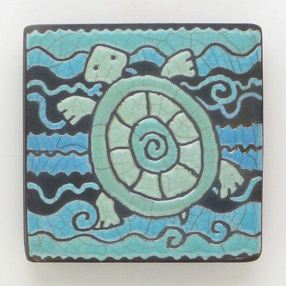 Turtleceramicclaysquaresmall tile a raku fired art by DavisVachon, $25.00