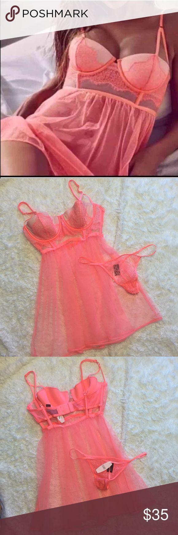 VS Coral Babydoll 34B Small Panty Lightly padded bra Victoria's Secret Intim…