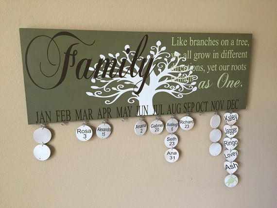 This Family Birthday Sign measures 8x22. Great as a gift or a personalized touch to your home. Helps remember all the important dates in your family. *All my signs are Hand painted (all sides for a more finished look) with a vinyl application and sealed with a matte finish. *Comes with two wall hangers on the back. *Comes with 20 Round discs  HOW DO I ORDER: (color chart listed in Photos) 1.) Background color 2.) Font Color for Family. 3.)Font color for Like branches on a tree.... 4.)Font…