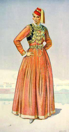 Macedonian Costume: Greek Woman's Town Dress (Kastoria #Macedonia) northern #Greece